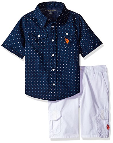 U.S. Polo Assn. Little Boys' Woven Sport Shirt and Twill Cargo Short, Plaid, 4 (Sport Shirt Woven)