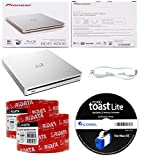 Pioneer 6x BDR-XS06 Slim Slot Portable External Blu-ray BDXL Burner, Roxio Toast Lite Software and USB Cable Bundle with 100pk CD-R RiDATA White Inkjet Printable