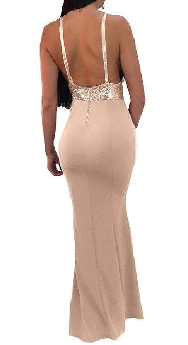 Joe Wenko Womens V Neck Sequins Spaghetti Strap Mermaid Maxi Bodycon Dresses