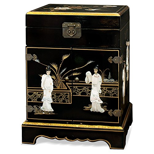 China Furniture Online Chinoiserie Jewelry Cabinet, Hand Painted Scenery with Maiden Mother Pearl Inlay Jewelry Chest in Black Lacquer