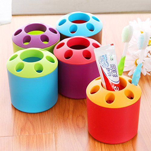 HITSAN INCORPORATION Multi-Function Perforated Plastic Toothbrush Holder Storage Barrels Desktop Pen Holder Storage Boxes