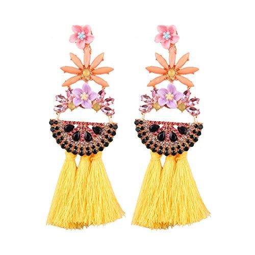 Big Drop Tassel Earrings Women Long Dangle Earring Statement Earrings Yellow