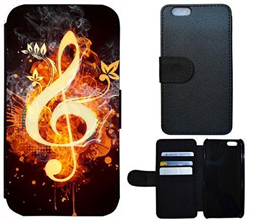 Flip Cover Schutz Hülle Handy Tasche Etui Case für (Huawei P8 Lite, 1412 Notenschlüssel Musik Feuern Abstract)