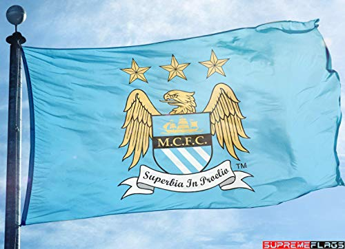 (Manchester City Flag Banner 3x5 ft England Premier Football Soccer Vintage)
