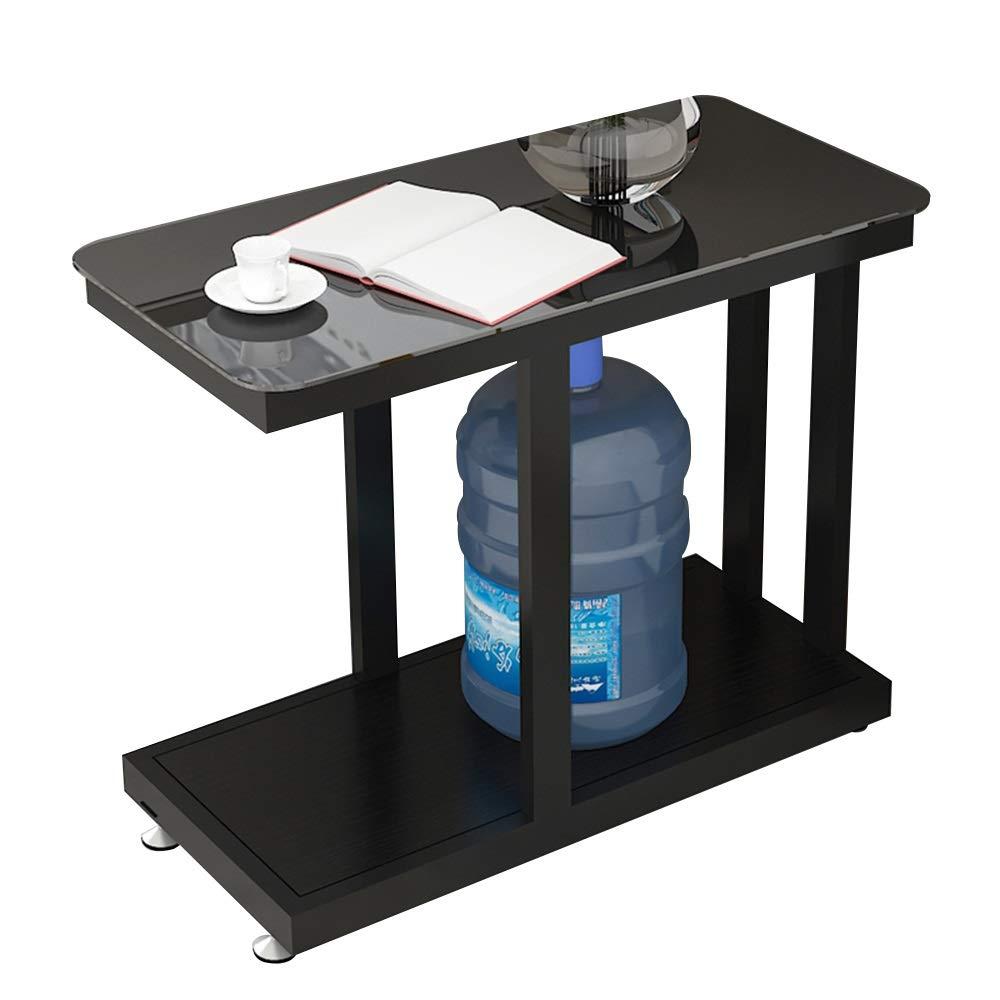 テーブル サイドテーブル、二重層オープン収納棚強化ガラスカウンタートップモバイル小さなコーヒーテーブル取り外し可能なフットパッドコーナーテーブル用リビングルームの寝室 (色 : A, サイズ さいず : 60*30*60cm) 60*30*60cm A B07SCHR7XW