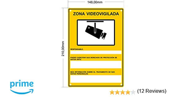 tualarmasincuotas.es Nuevo Modelo HOMOLOGADO Cartel Zona Videovigilada A5 Interior/Exterior, Cartel Disuasorio PVC Flexible, Placa Disuasoria 21x15 ...