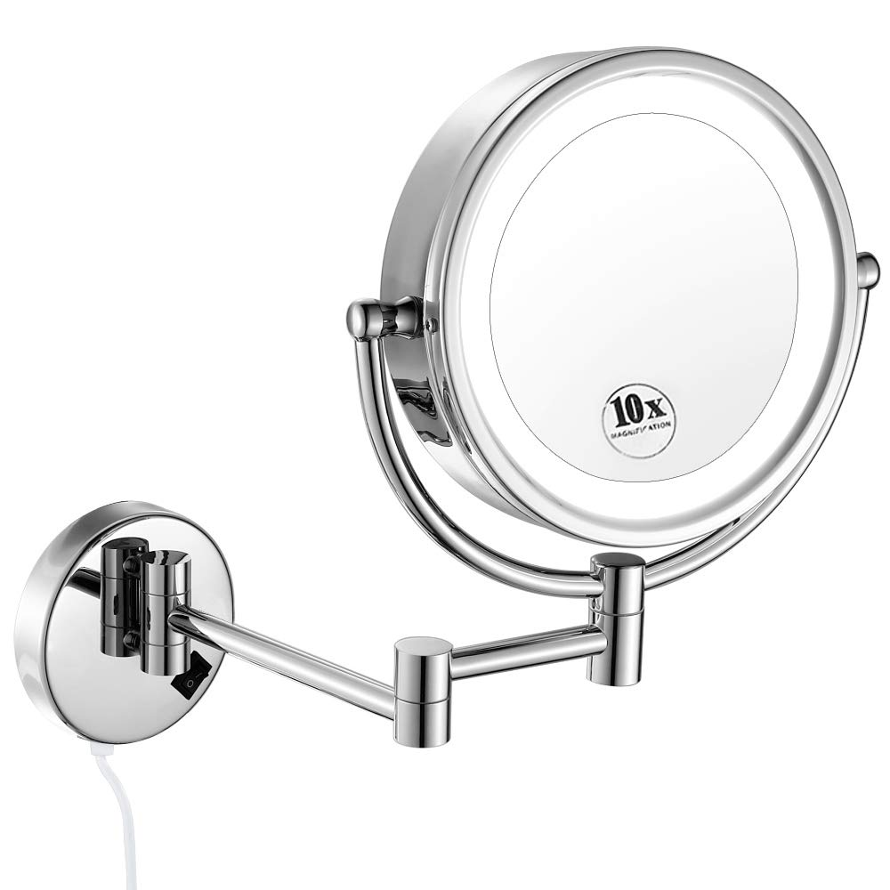 GURUN LED Wall Mount Makeup Mirror Lighted 10x Magnification, Bathroom Vanity Mirror, 13-Inch Extension,Brass Chrome Finished M1809D(9in,10x)