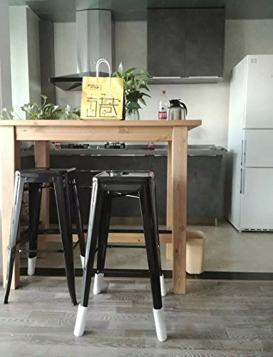 High Backless Metal Bar Stool for Indoor-Outdoor Kitchen Counter Bar Stools Set of 4 Bronze Metal with Wood Seat by Changjie Furniture (Image #8)