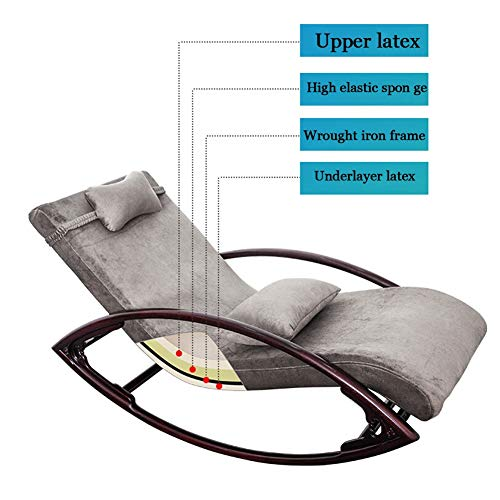Pig Middle I Relax Rocking Lounge,Lunch Break Chair Balcony Furniture Light Grey Lounge Chair Recliner Relaxing Chair with Soft Cushion 1506535cm