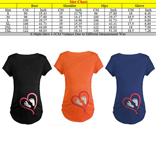 Zhhlaixing Tops de calidad Funny Love Feet Print Maternity T shirts Pure Color Cute Plus for Pregnancy Gifts Black