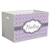 Personalized Lavender Quatrefoil w Grey Childrens Nursery White Open Toy Box