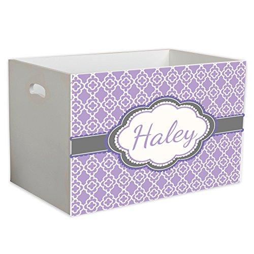 Personalized Lavender Quatrefoil w Grey Childrens Nursery White Open Toy Box by MyBambino (Image #1)
