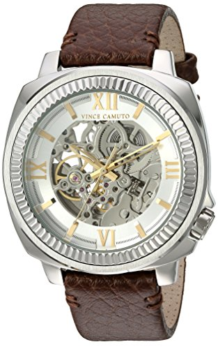 Vince-Camuto-Mens-VC1091SVSV-Silver-Tone-Exposed-Automatic-Brown-Leather-Strap-Watch