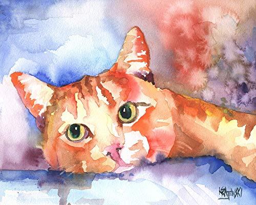 Orange Tabby Cat Art Print | Orange Tabby Cat Gifts | From Original Watercolor Painting by Ron Krajewski | Hand Signed in 8x10