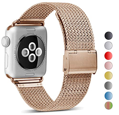 Seoaura Compatible Watch Band 42mm 44mm, Stainless Steel Milanese Loop Replacement Strap with Magnetic Closure Series 4 3 2 1 Sports (Vintage Gold, 42mm/44mm) ()