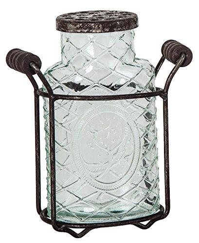 5.5'' Glass Jar Vase with Metal Holder & Flower Frog Lid Country Home Decor