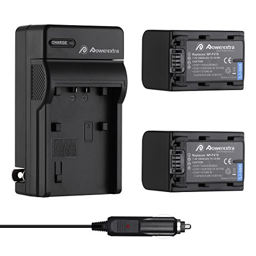Powerextra 2 Pack Replacement Sony NP-FV70 battery and Charger for Sony HDR-SX45, SX85, XR260V, CX190, CX200, CX210, CX260V, CX580V, CX760V, PJ200, PJ260V, PJ580V, PJ710V, PJ760V, TD20V, VG20H by Powerextra