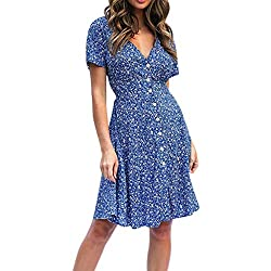 Amofiny Women S Tops Dresses Spring And Summer Fashion Casual Printed Button Sling Female Dress Blue