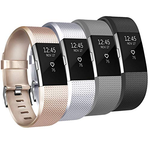Tobfit Sport Bands Compatible for Fitbit Charge 2 Classic Edition, 4 Pack, Champagne Gold, Silver, Black, Gray, Large