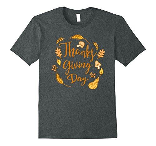 Mens Happy Thanksgiving Day Shirt XL Dark Heather