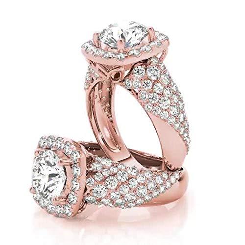 Forever Diamond Bridal Wedding Engagement Ring 14K Rose Gold Hallmarked...