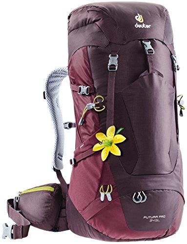 (Deuter Futura PRO 34 SL Hiking Backpack with Detachable Rain Cover, Aubergine/Maroon)