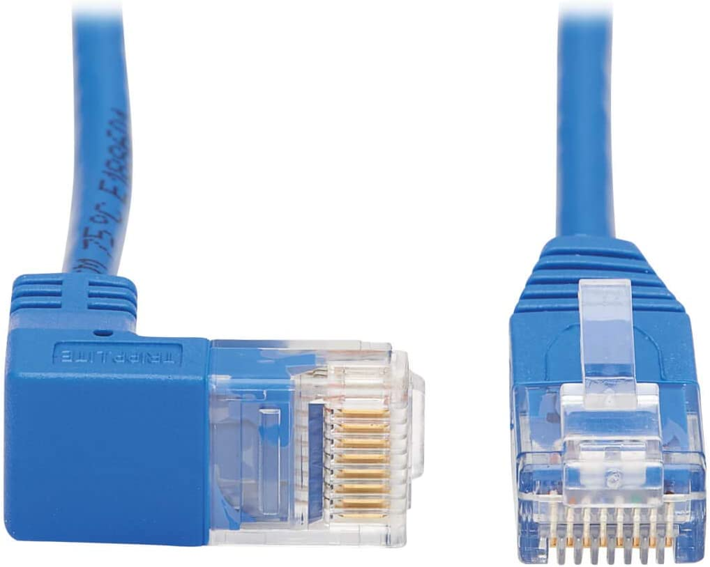 Tripp Lite Right Angle Cat6 Ethernet Cable Gigabit Molded Slim UTP Network Patch Cable N204-S07-BL-RA Blue 7 ft.