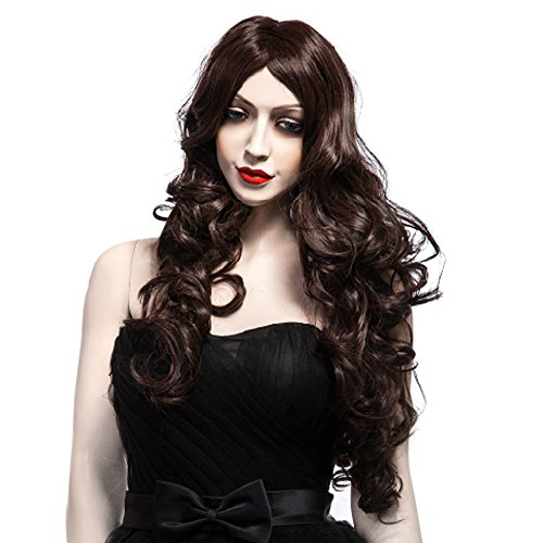 FCL Fashion Women Carved Long Brown Curly Wig Cosplay Wigs