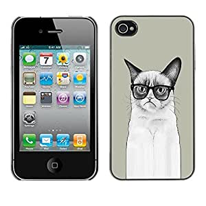 LECELL -- Funda protectora / Cubierta / Piel For Apple iPhone 4 / 4S -- Funny LOL Long Angry Cat --