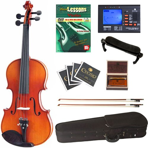 Cecilio CVN-300 Ebony Fitted Solid Wood Violin with Tuner and Lesson Book, Size 4/4 (Full Size) by Cecilio