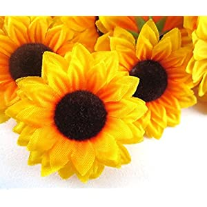 ELEOPTION 100PCS Beautiful Artificial Flowers Yellow Sunflowers Sun Flower Heads For Embellishing Weddings, Parties, Hair Clips, Headbands, Hats, Clothes, Bows, Craft work 2