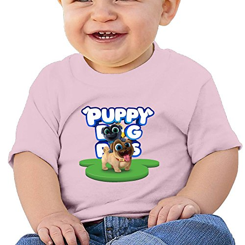 Ssuac Yi66 Puppy Dog Lovely Pals Baby Popular Short Sleeve Tank Top Cotton T-Shirt Pink 12 Months -