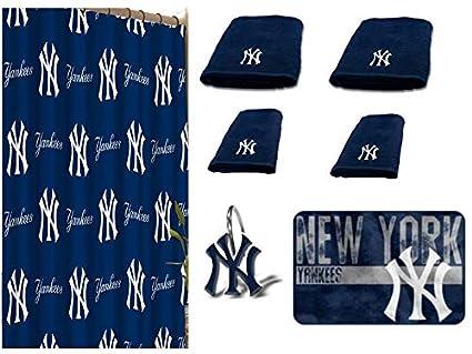 MLB New York Yankees 18 Piece Bath Ensemble Includes 1 Shower Curtain