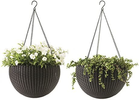 Amazon Com Keter Resin Rattan Set Of 2 Round Hanging Planter Baskets For Indoor And Outdoor Plants Perfect For Porches And Patio Decor Brown Garden Outdoor