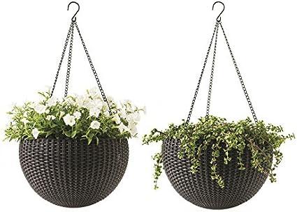 Keter Dia 13,8en pots de décoration Pots de fleurs. plantes de jardin ronde Résine Plastique à suspendre 2PC, Marron