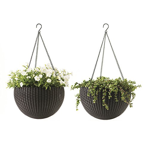 Cheap  Keter Dia 13.9 in. Round Plastic Resin Garden Plant Hanging Planters Decor..