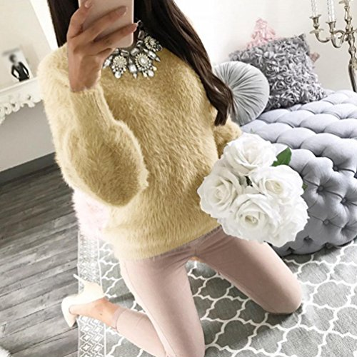 Femme Rond Gros Sweater Tops Hiver Pull Pullover WanYang Col Kaki Blouse Jumper Tricots wqXdB500
