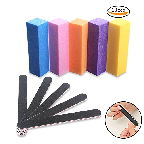 Buffer Nail File (Teenitor Nail Files Buffer Shiner Polisher Professional Art Supplies Pedicure Manicure Tool 100/180 Grit 10pcs/Pack)