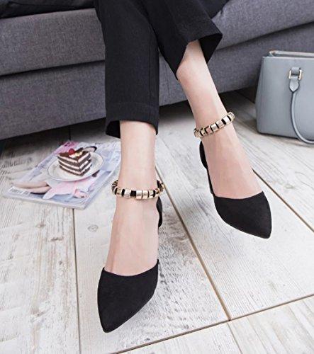 épais talon Shallow Couleur mode Gris taille bouche casual simples Noir 39 chaussures chaussures Sexy femmes Pointu chaussures LBDX tqHYXX