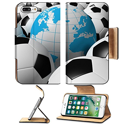 Luxlady Premium Apple iPhone 7 Plus Flip Pu Leather Wallet Case iPhone7 Plus 4175061 3D rendered soccer balls with globe - Oriental Soccer Ball