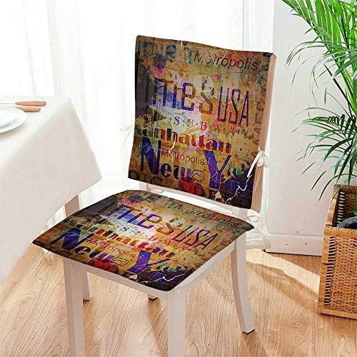 Cover Futon Montage - Mikihome Chair Pads 2 Piece Set Grunge Style Complex Artsy Montage of NYC Letters on Magazine Cover Popular Brooklyn Garden Home Kitchen Mat:W17 x H17/Backrest:W17 x H36