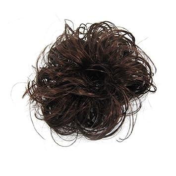 eDealMax señoras de la fibra sintética rizada del moño/Cabello / Bollo/ peluca,