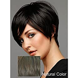 Virgin Brazilian Glueless Silky Straight Human Hair Wigs Short Wigs with Side Bang Natural Color Can be Dyed