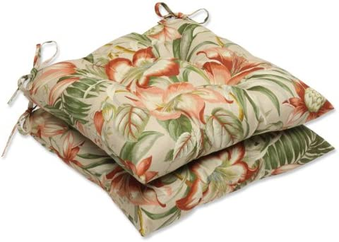 Pillow Perfect Outdoor Indoor Botanical Glow Tiger Stripe Tufted Seat Cushions Square Back , 19 x 18.5 , Floral 2 Pack