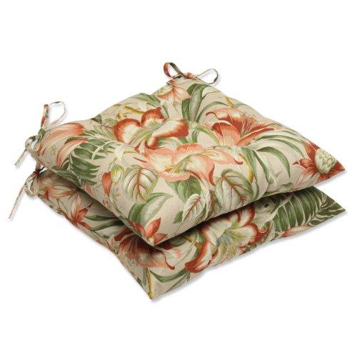 Pillow Perfect Outdoor Botanical Glow Tiger Stripe Wrought Iron Seat Cushion, Set of 2 (Wrought Seats Iron)