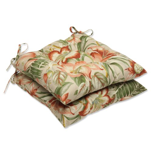 Pillow Perfect Outdoor Botanical Glow Tiger Stripe Wrought Iron Seat Cushion, Set of 2