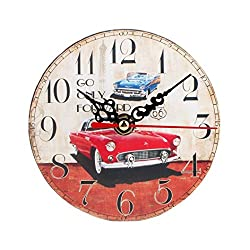 "LiPing 4.7"" Vintage Style Silent Antique Wood Wall Clock - Easy To Read & Install Best For Home/Office/School Universal Use, Battery Operated (B)"