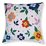 Valery Madelyn Set of 4 Floral Cotton Linen Throw Pillow Case Decorative Pillow Covers for Sofa Couch, Tropical Printed Design, 2PCS 18x18 Inch, 2PCS 18x12 Inch