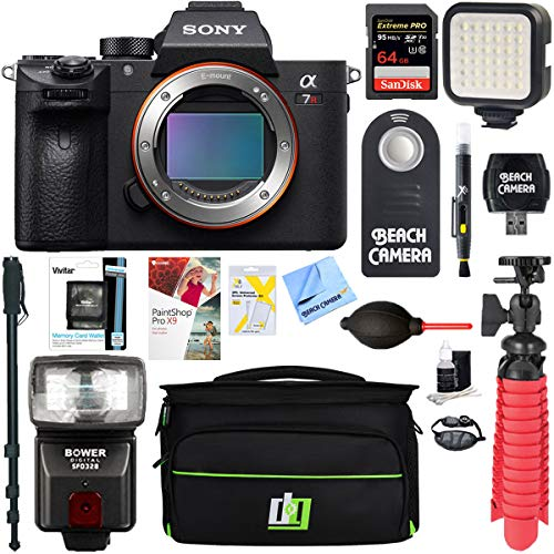 Sony a7R III 42.4MP Full-Frame Mirrorless Interchangeable Lens Camera Body (ILCE7RM3/B) + 64GB Memory & Flash a7RIII Accessory Bundle