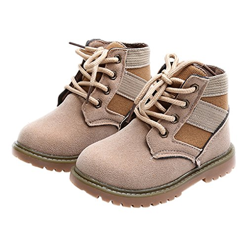 Beige Shoes Nubuck Kids (LINKEY Toddler Boys Winter Nubuck Martin Boots Ankle Snow Boots Outdoor Sneaker Shoes Beige Size 24)